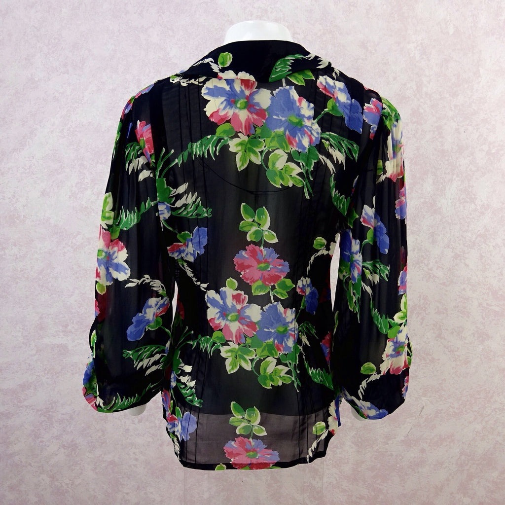 2000s CACHARAL Floral Chiffon Blouse, NOS b