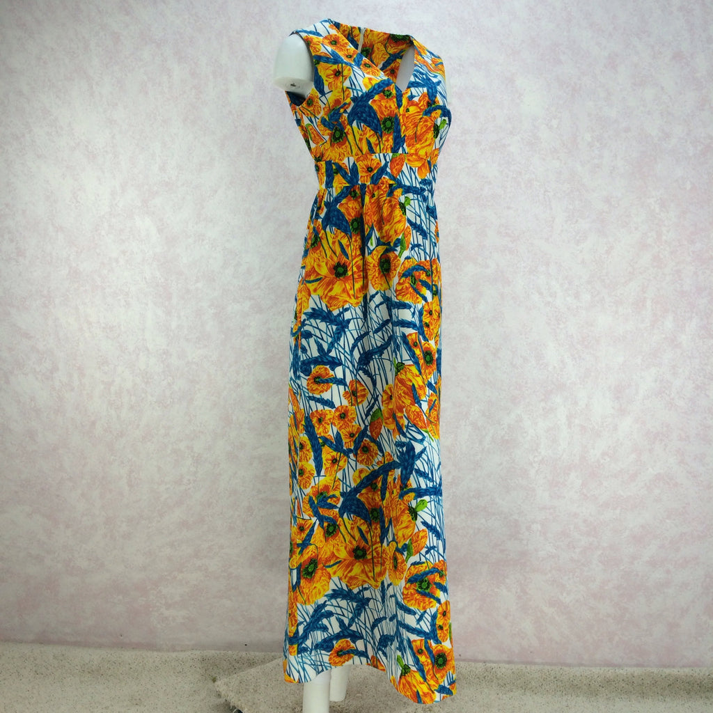 Vintage 70s Tropical Poppy Print Maxi Dress, Side