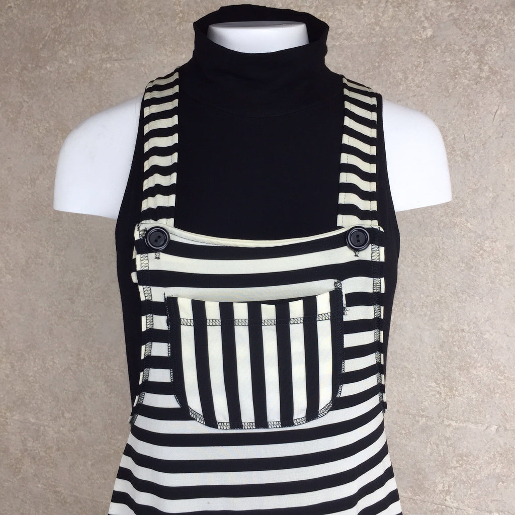 2000s Striped Cotton Knit Overall Dress, Bodice
