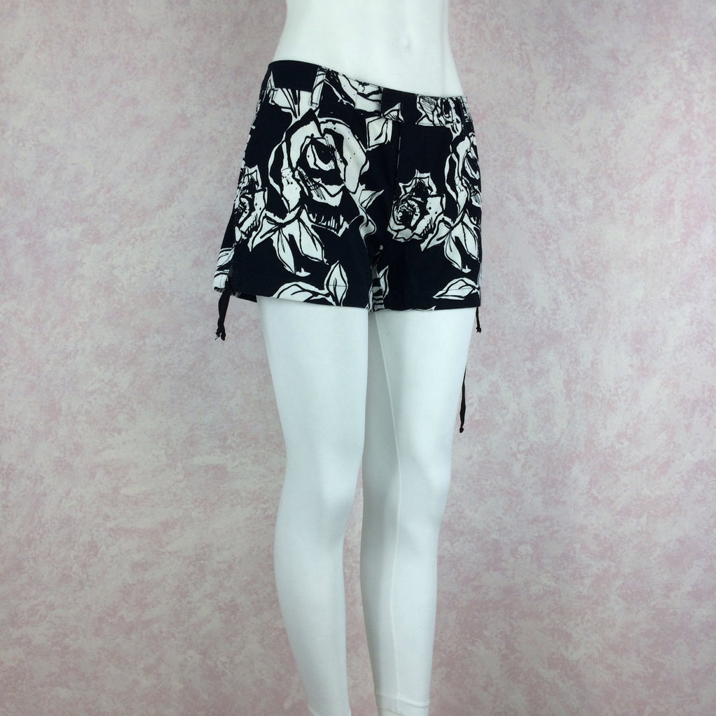 2000s Cotton Floral Shorts w/Drawstring Hem, NOS side