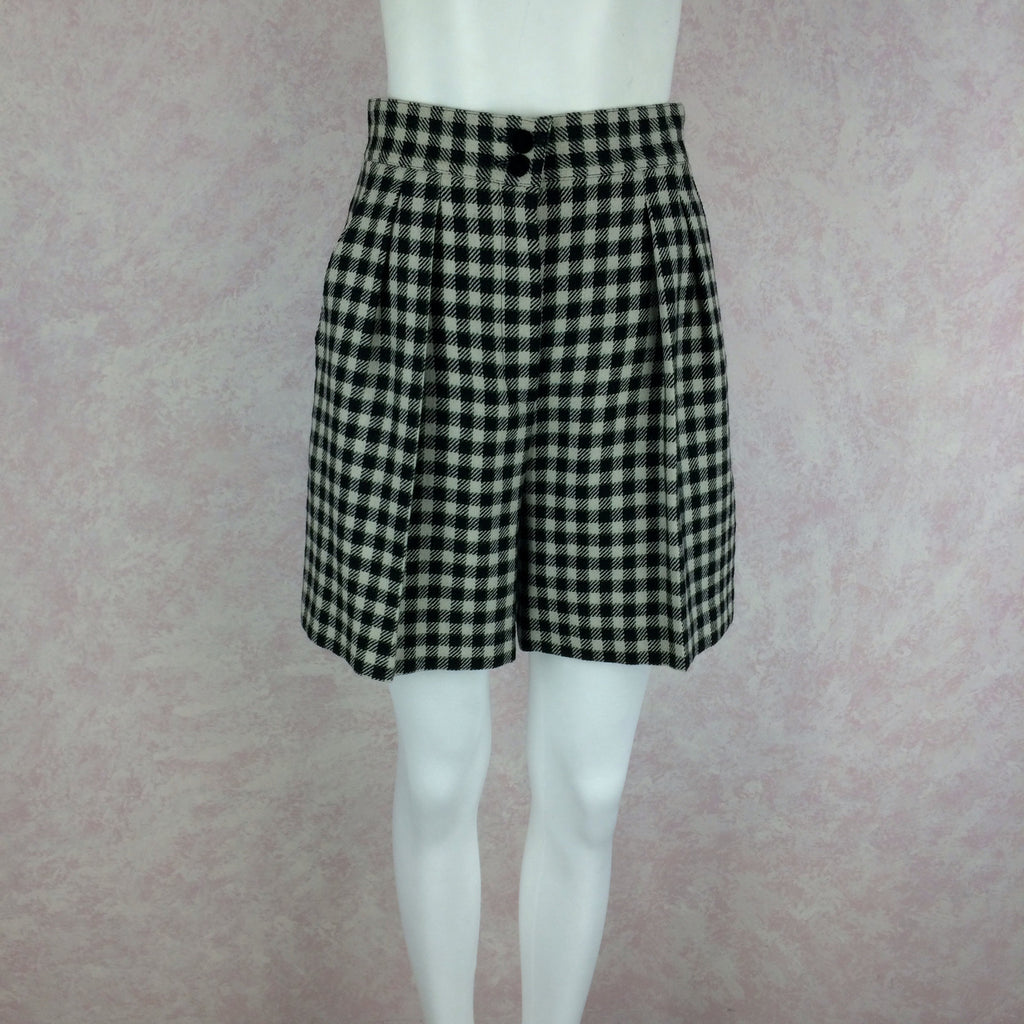 2000s LAUREL Checked Wool Pleated Shorts