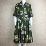 Vintage 60s Silk Asian Print Fit & Flair Shirt Dress, Front