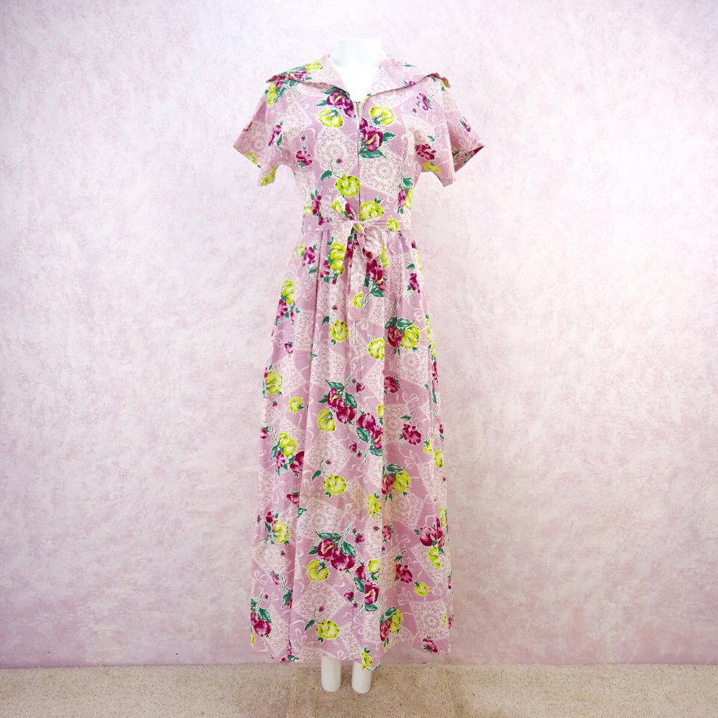 Vintage 40s JULIANA Floral Seersucker Dress, F