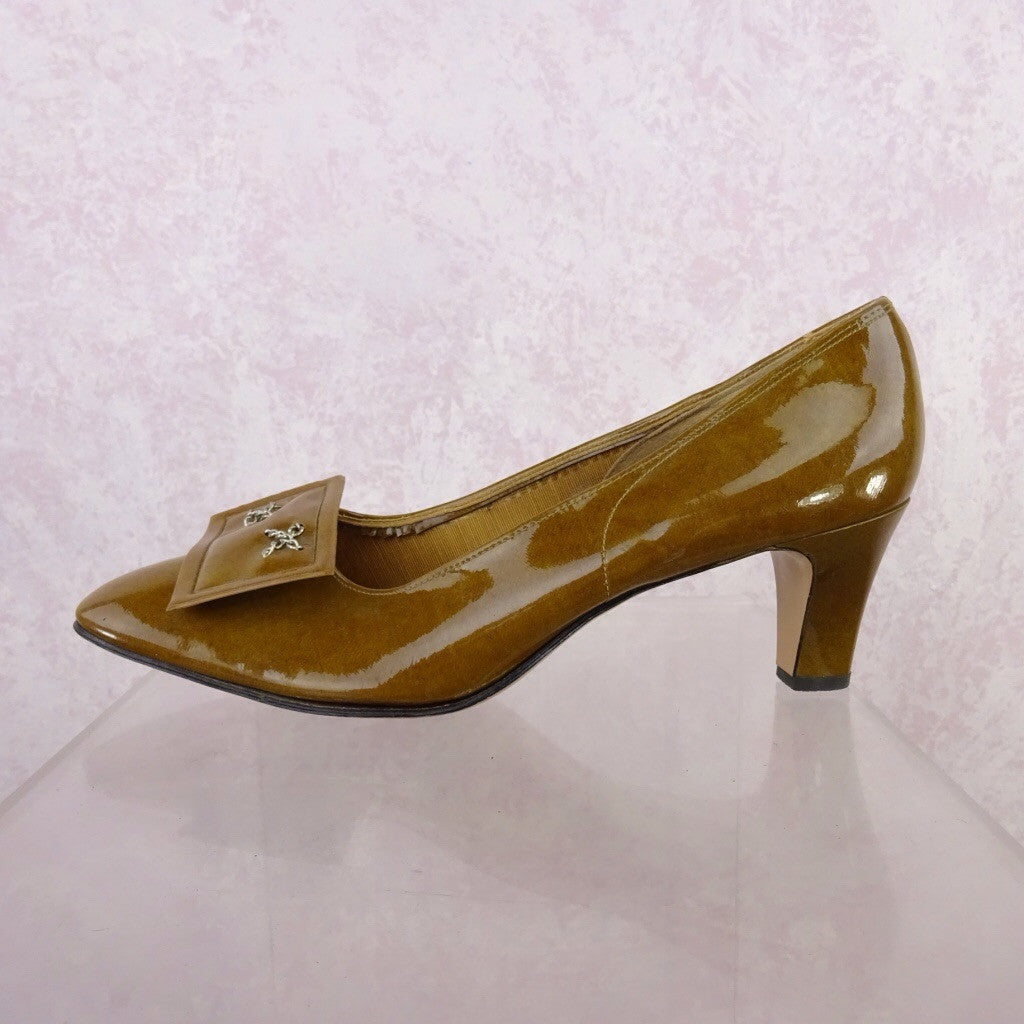 Vintage 70s Mustard Patent Leather Pumps w/Buckle bgfds