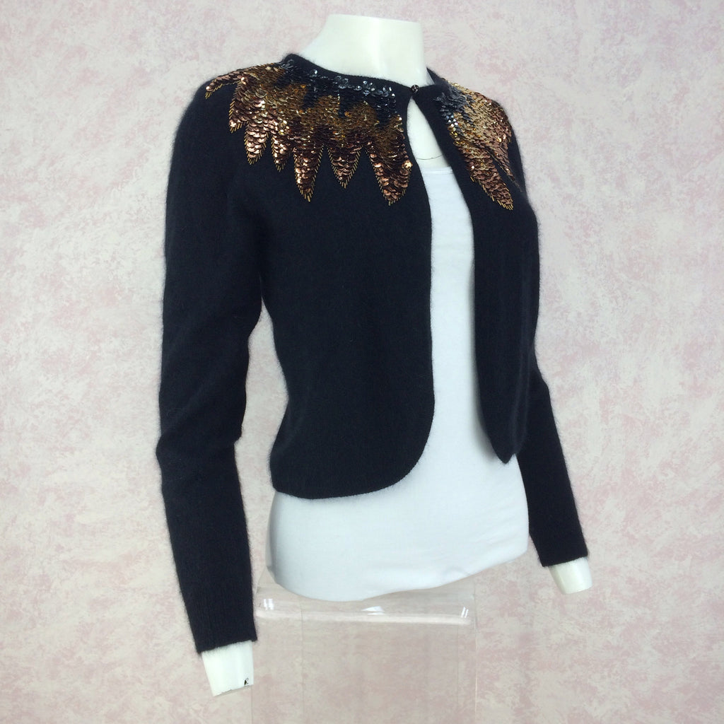Vintage 50s Cardigan w/Multi-Color Sequin Collar, side