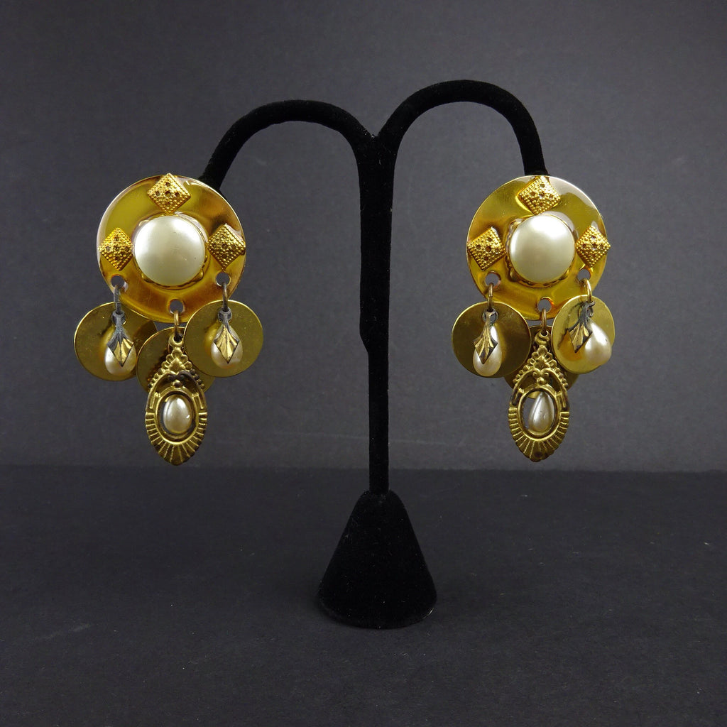"Vintage 90s Gold-Tone & ""Pearl"" Earrings w/3 Drops"