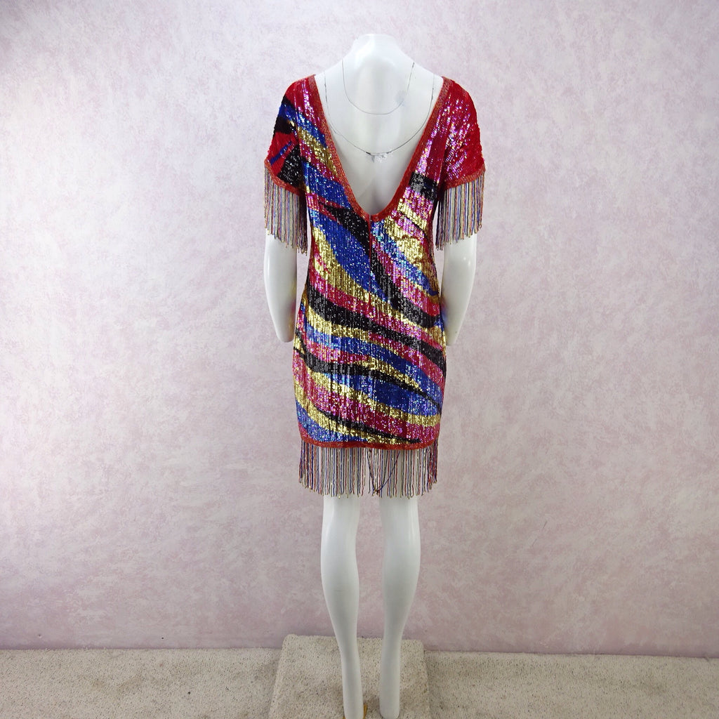Vintage 80s Solid Colorful Sequin Dress w/Beaded Fringe nn
