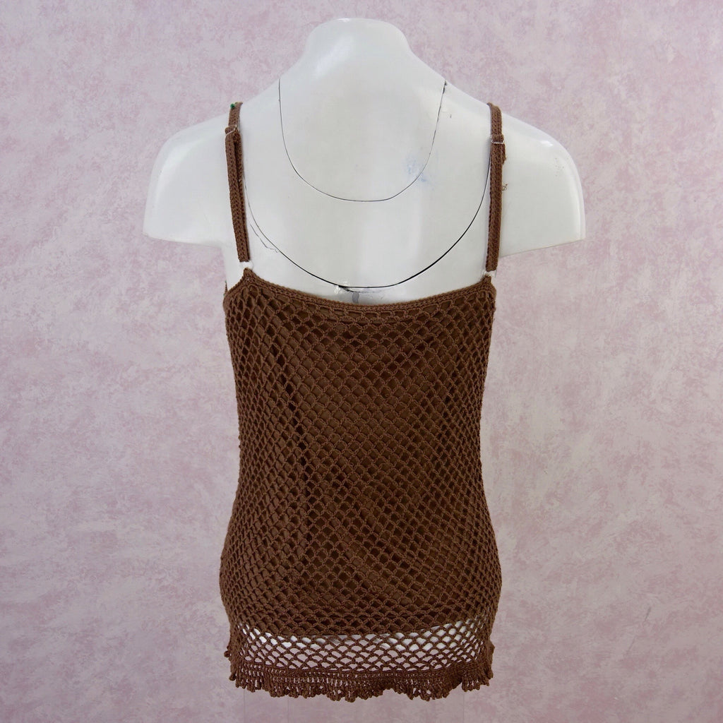 **** 2000s Crochet Lined Bronze Camisole Top, NWT back
