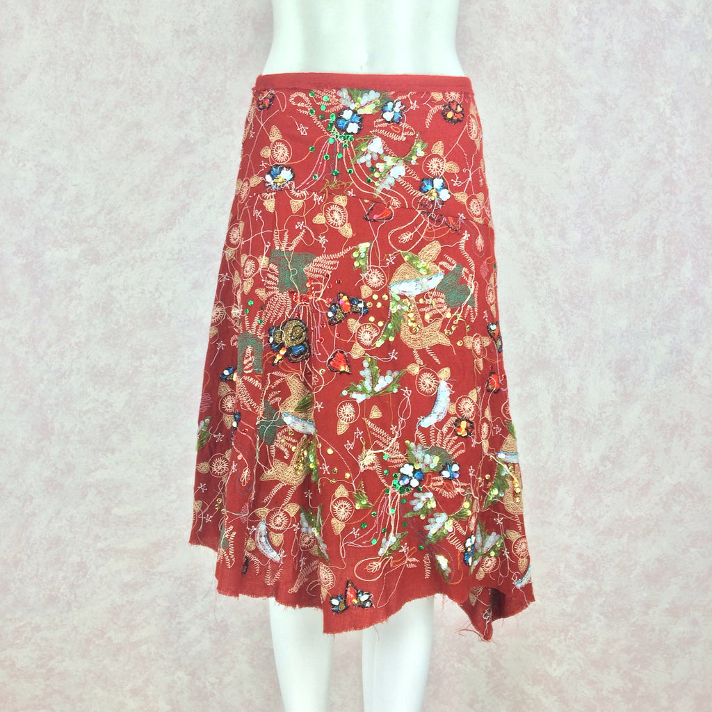 2000s Diagonal Hem Embroidered Skirt w/Sequins, Front