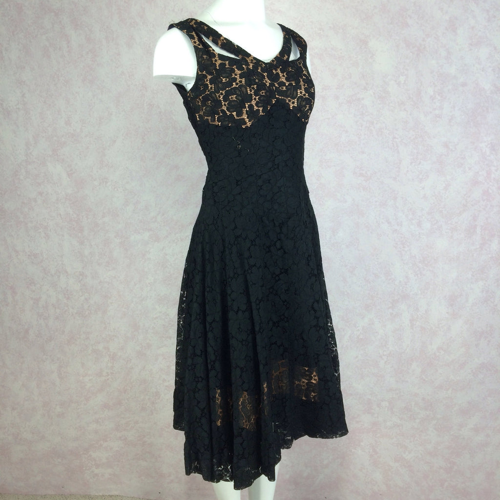 Vintage 60s Sexy Lace Sleeveless Cocktail Dress, Side