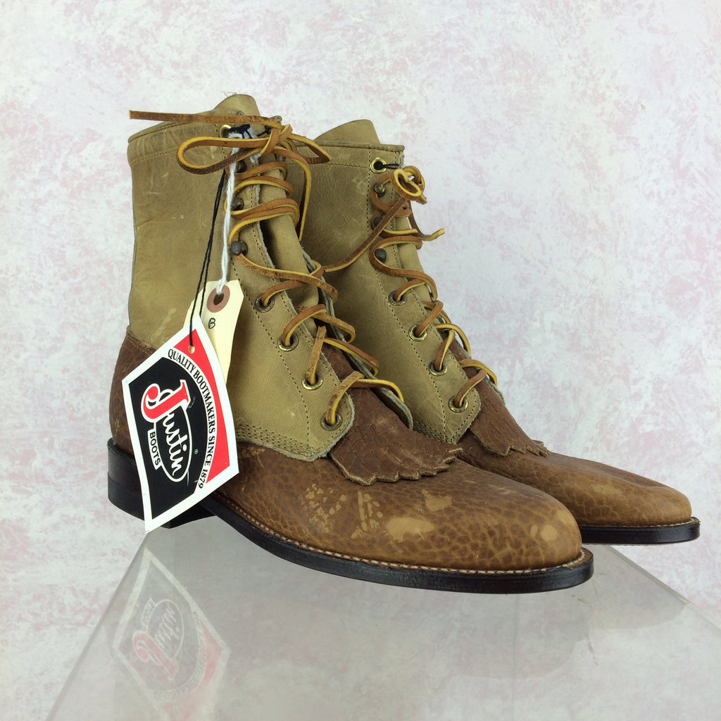 2000s JUSTIN Lace-Up Leather & Canvas Boots, Side