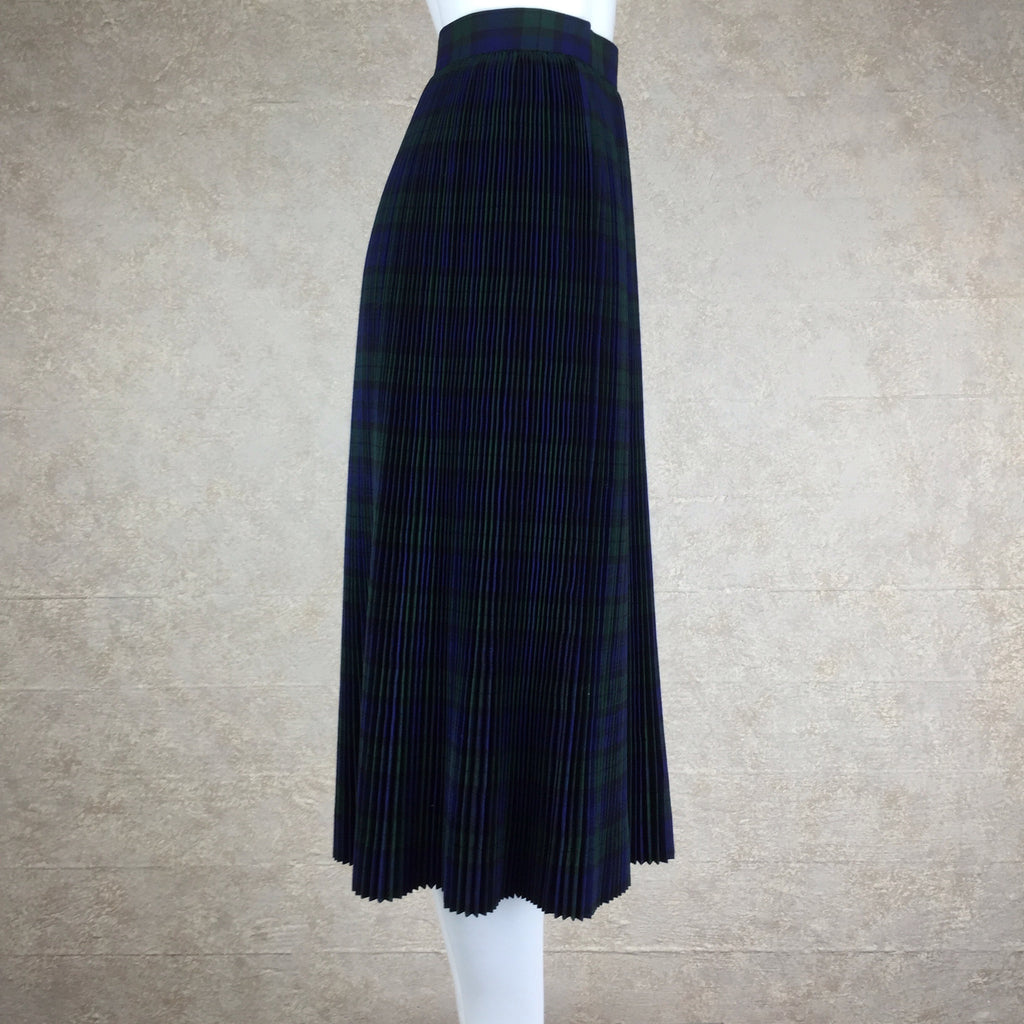 Vintage 50s Plaid Accordian Pleated Skirt, side