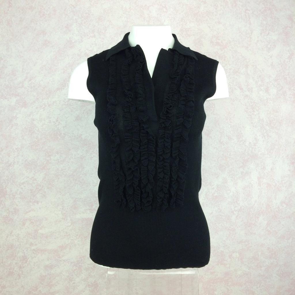 2000s THE WRIGHTS Ribbed Shell w/Ruffle Tux Front 1