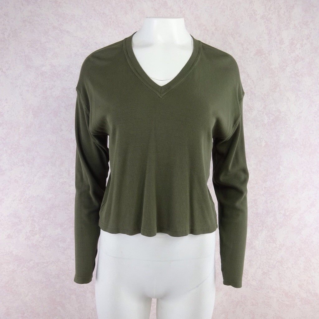 2000s Ribbed Cotton Knit V-Neck Top