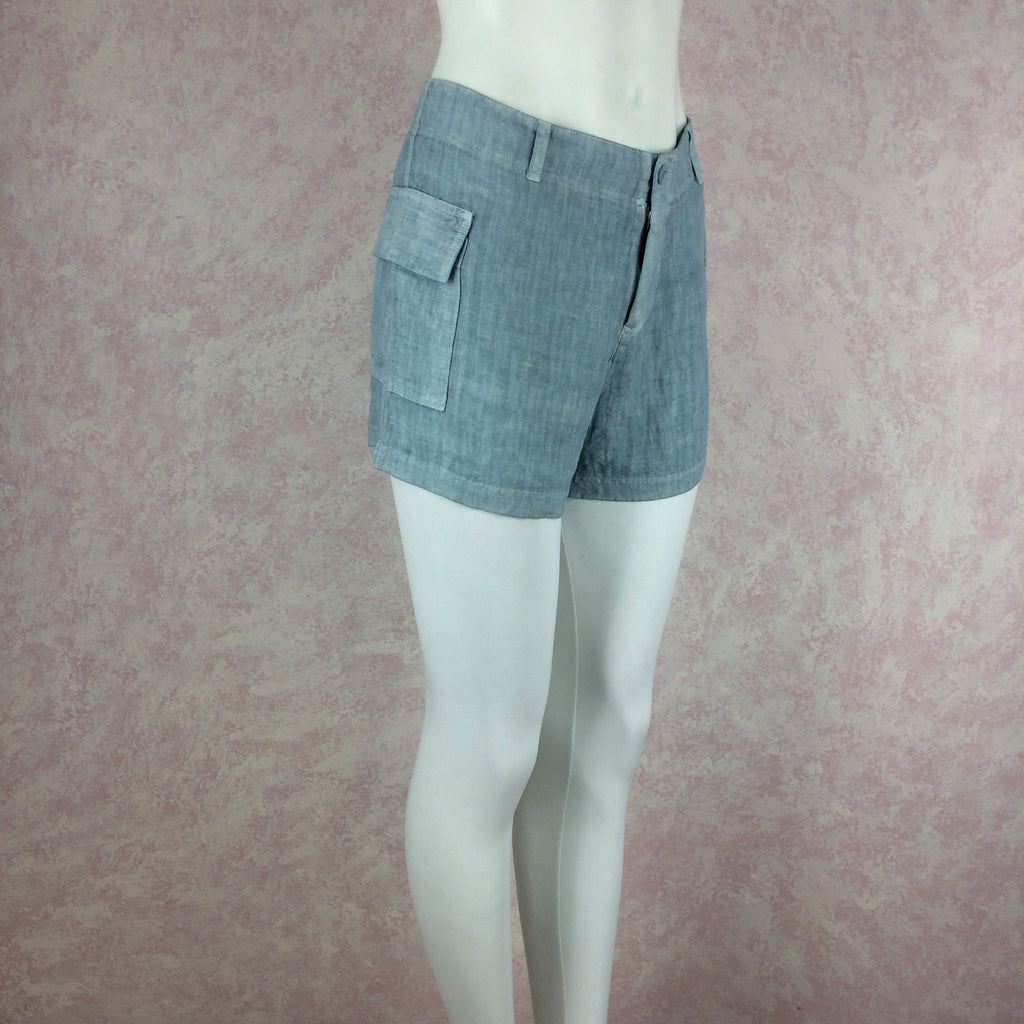 2000s THEODORE Linen Shorts w/Side Hip Pockets, NOS side