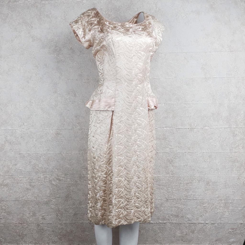 Vintage 50s Embroidered Satin Dress side