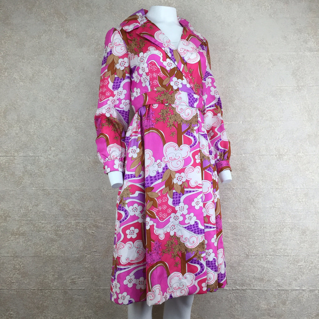 Vintage 70s Psychedelic Wrap Dress, side