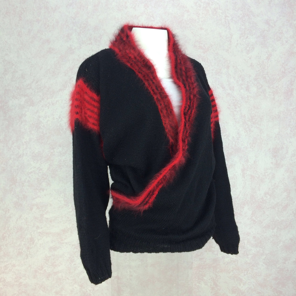 Vintage 90s Hand Knit Sweater w/Angora Stripes, Side