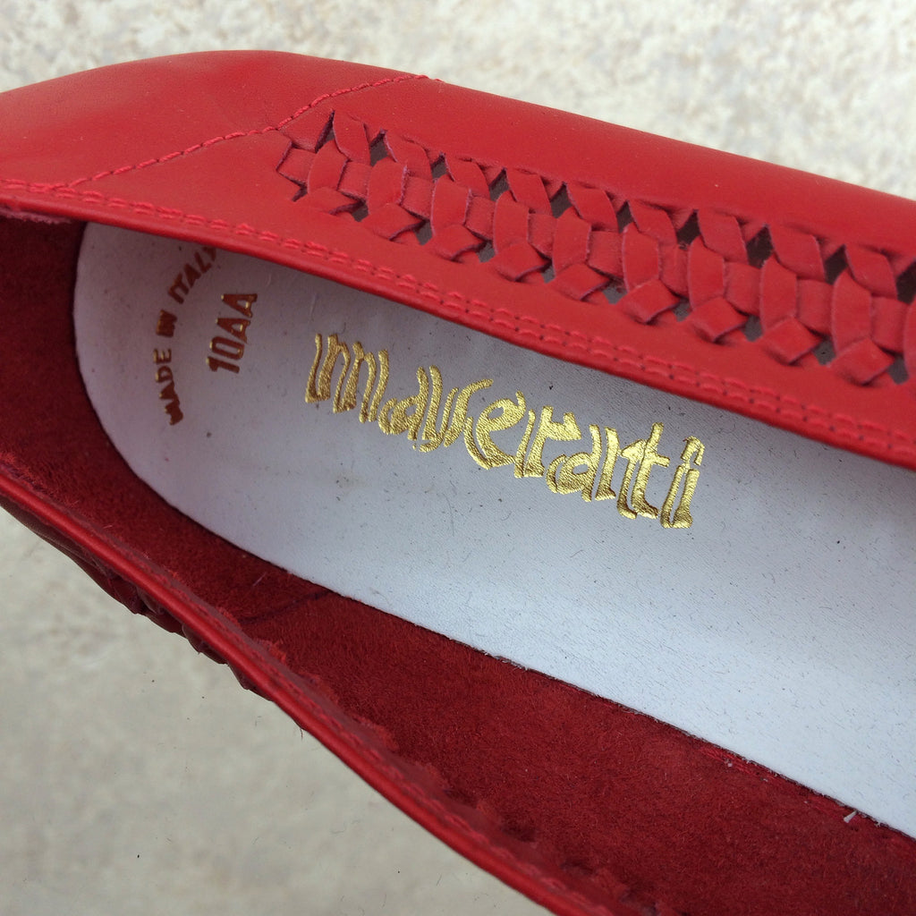 Vintage 90s MASERATI Wedgie Loafers, Label