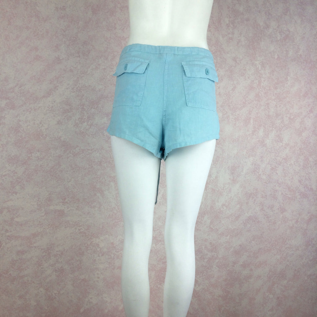 2000s JUICY COUTURE Linen Teal Shorts f