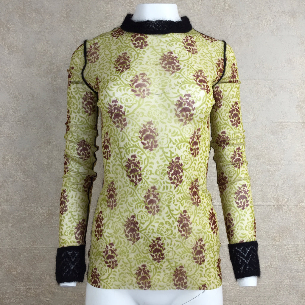 2000s GAULTIER Mesh Paisley Pattern Top, Front