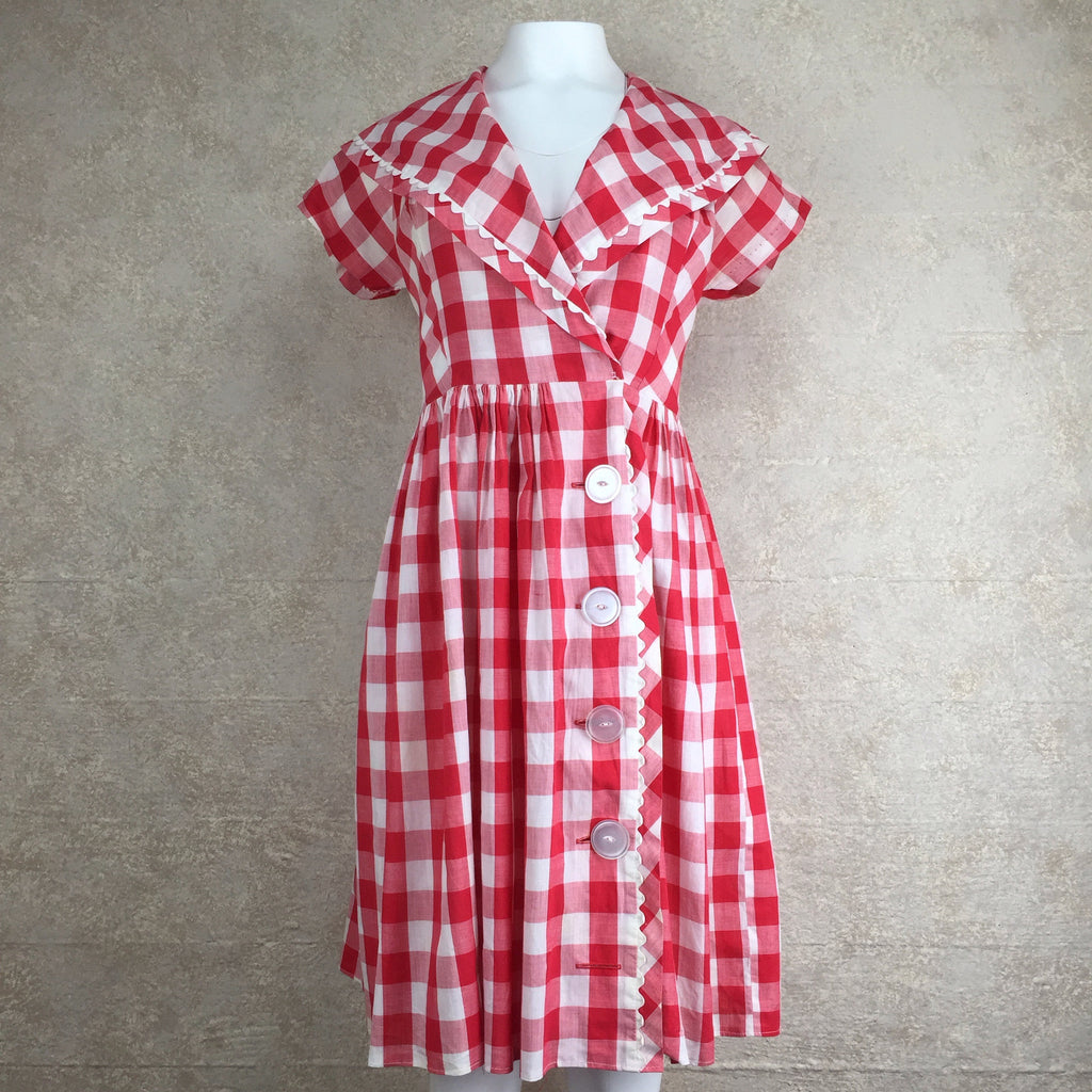 Vintage 60s Gingham Fit & Flair Dress, Front