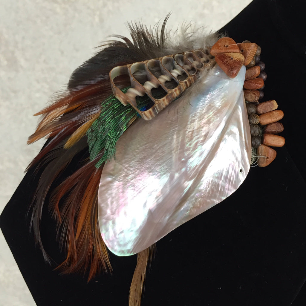 2000s Handmade Shell, Peacock Feather Beaded Pin