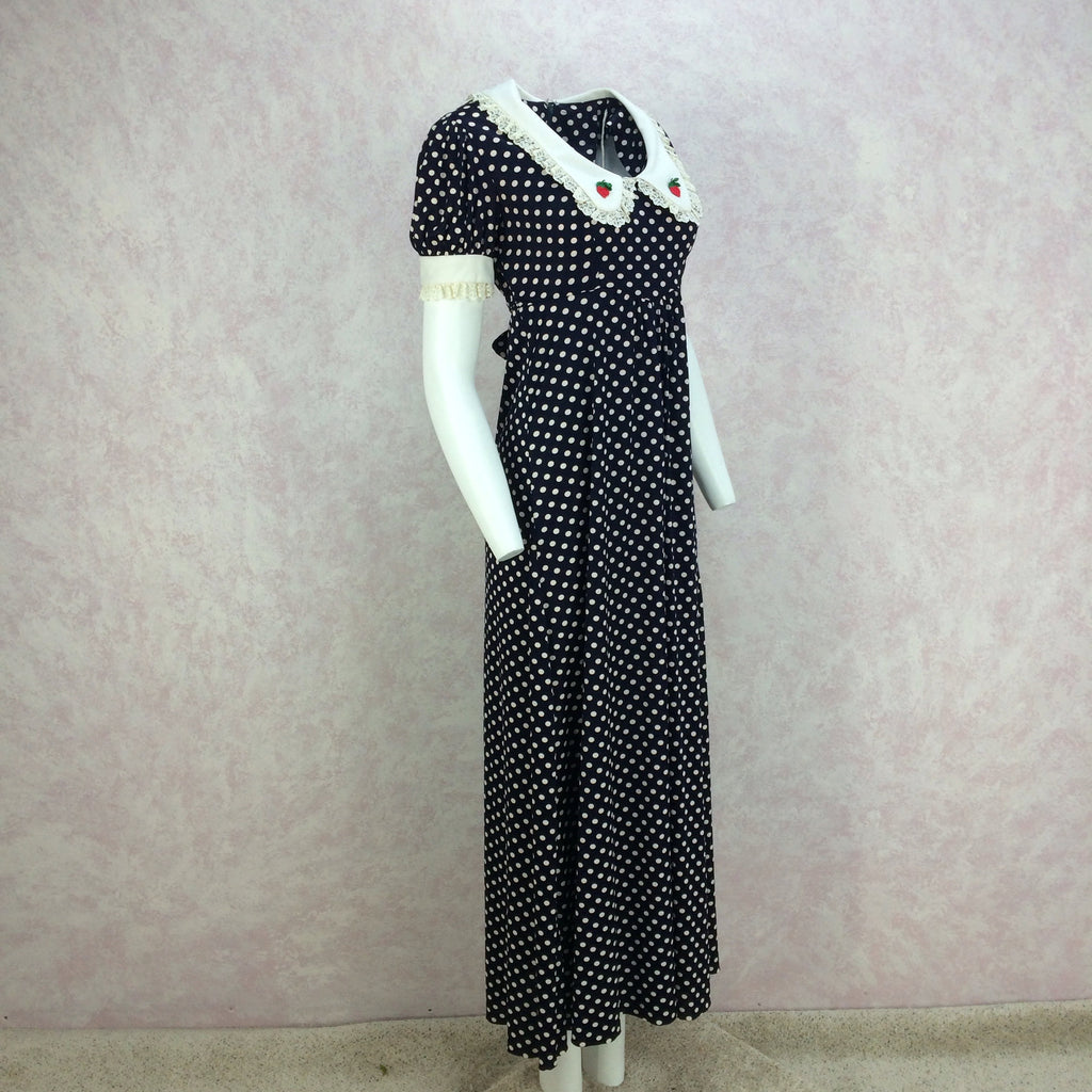 Vintage 70s Polka Dot Scoop Neck Maxi Dress, side