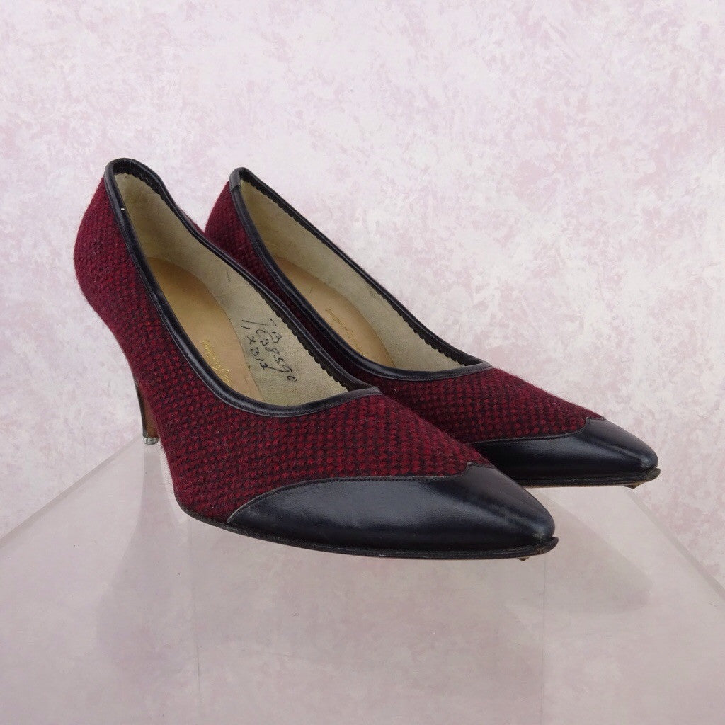 Vintage 50s Tweed & Leather Stilettos