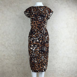 Vintage 90s Leopard Print Stretch Dress, Front