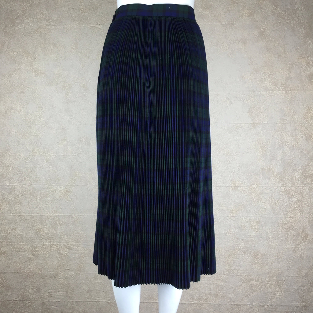 Vintage 50s Plaid Accordian Pleated Skirt