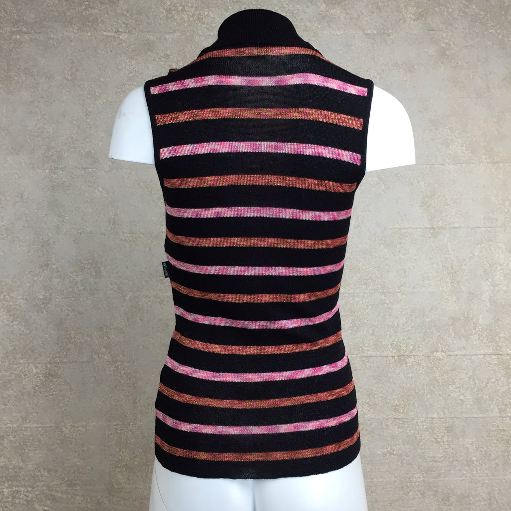 Vintage 90s Horizontal Stripe Lurex Knit Turtleneck, Back