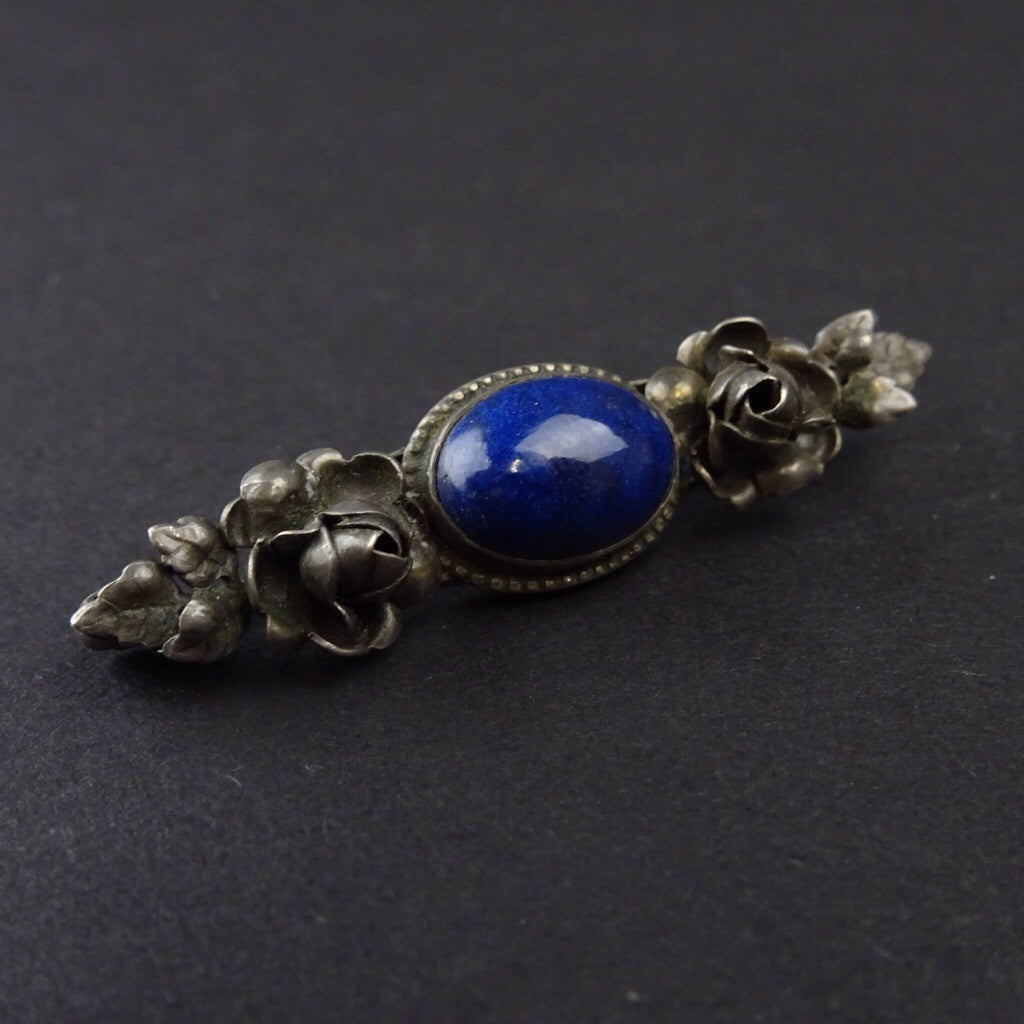 Edwardian Blue Stone Pin Bordered w/Sterling Roses