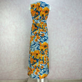 Vintage 70s Tropical Poppy Print Maxi Dress, Back