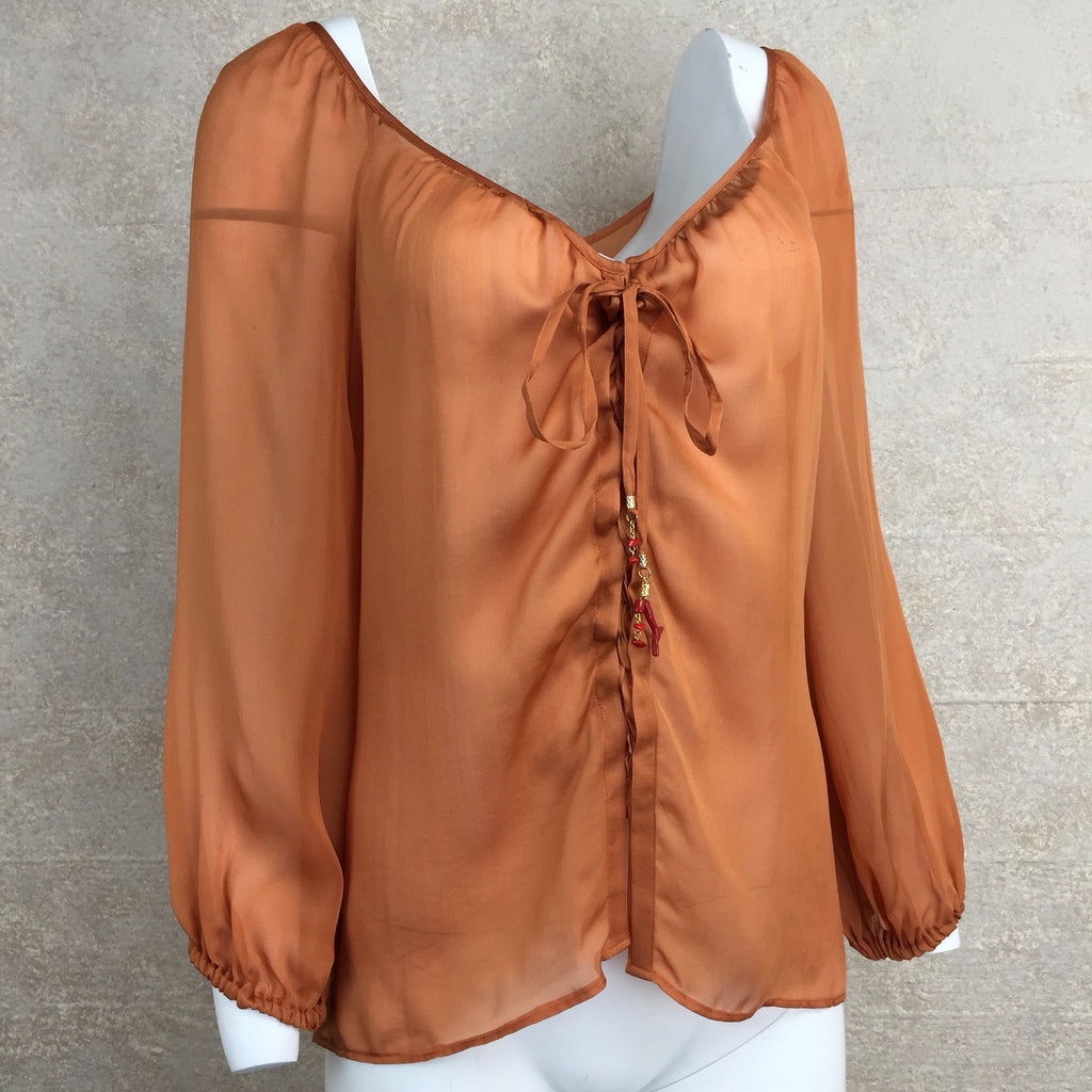 2000s ROBERTO CAVALLI Silk Lace-Up Blouse, Side