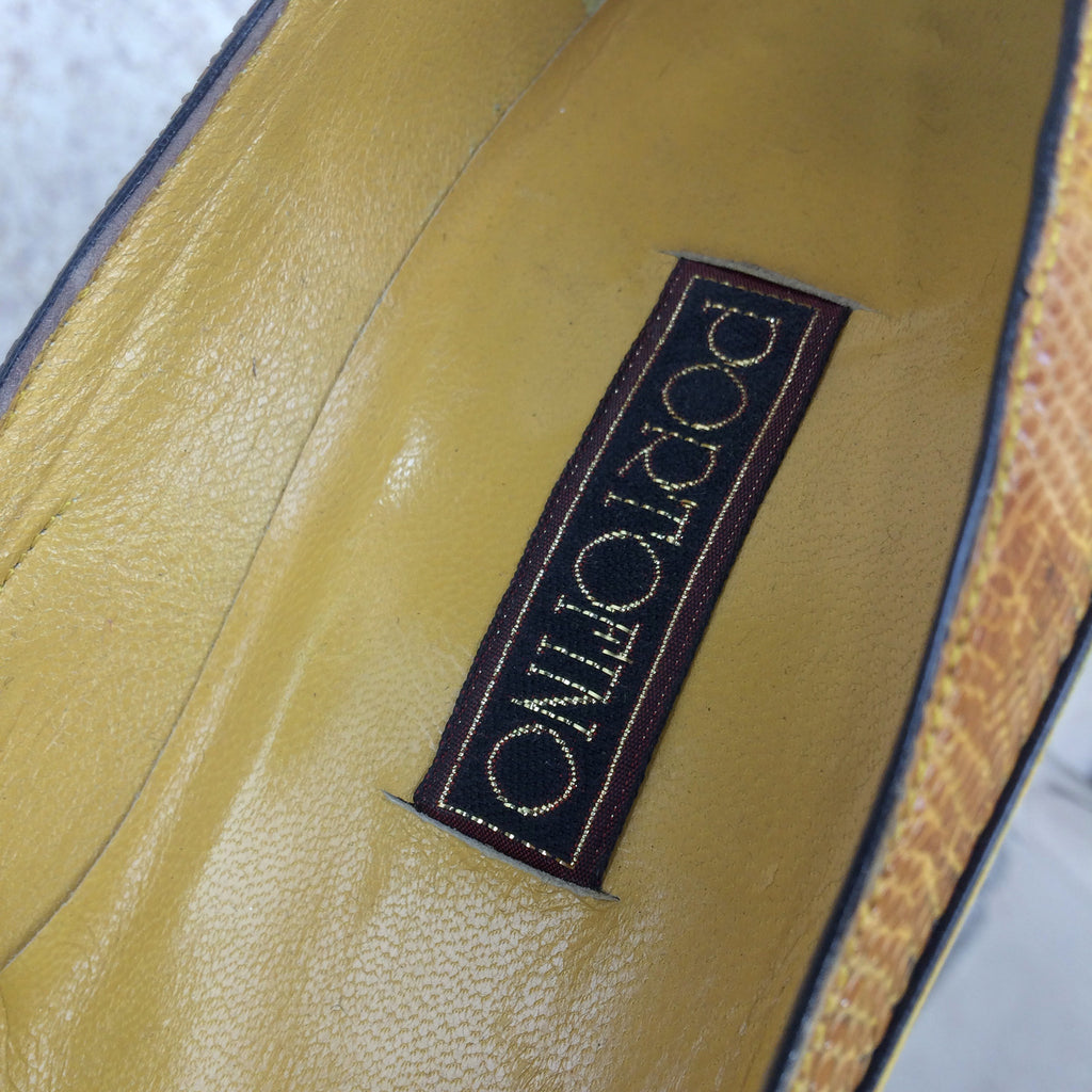 Vintage 90s PORTOFINO Leather & Lizard Pumps, label