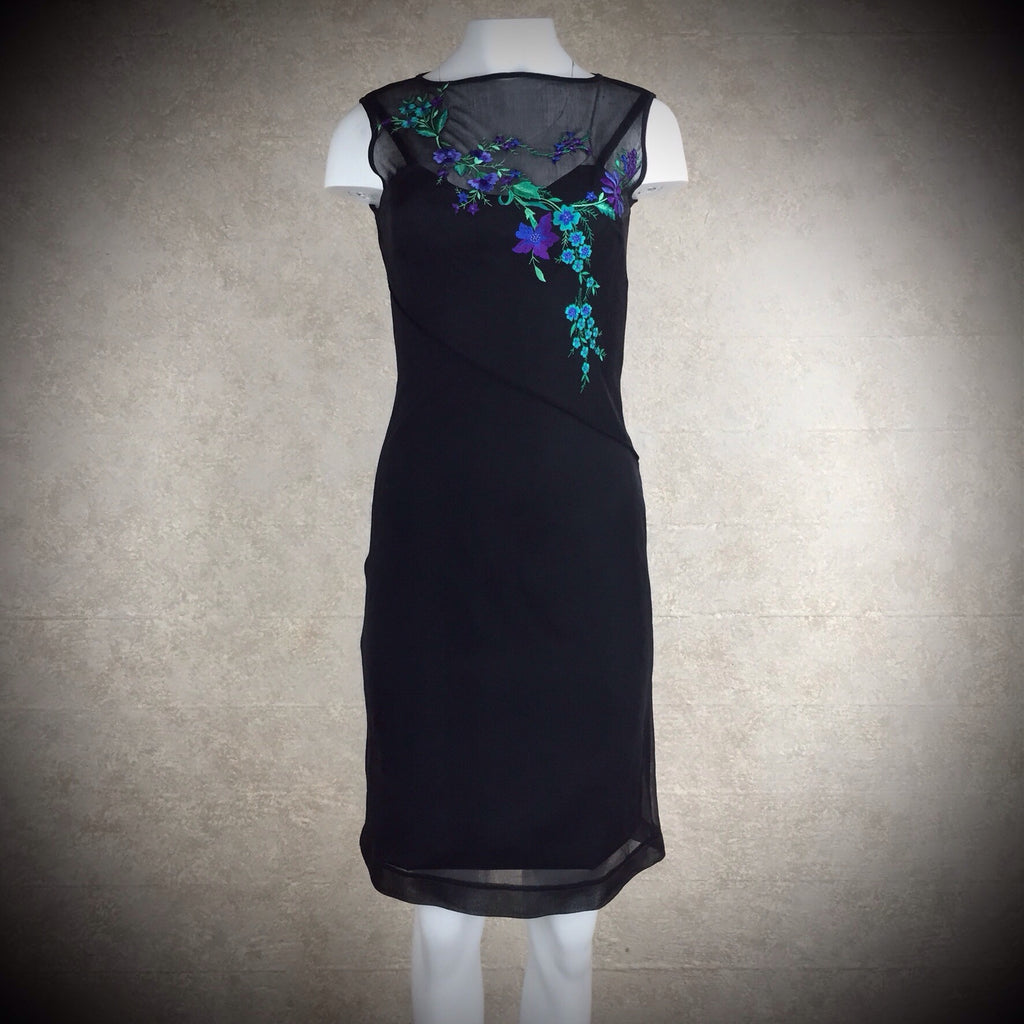 2000s Sheath Dress w/Diagonal Bodice Embroidery, NWT front 2
