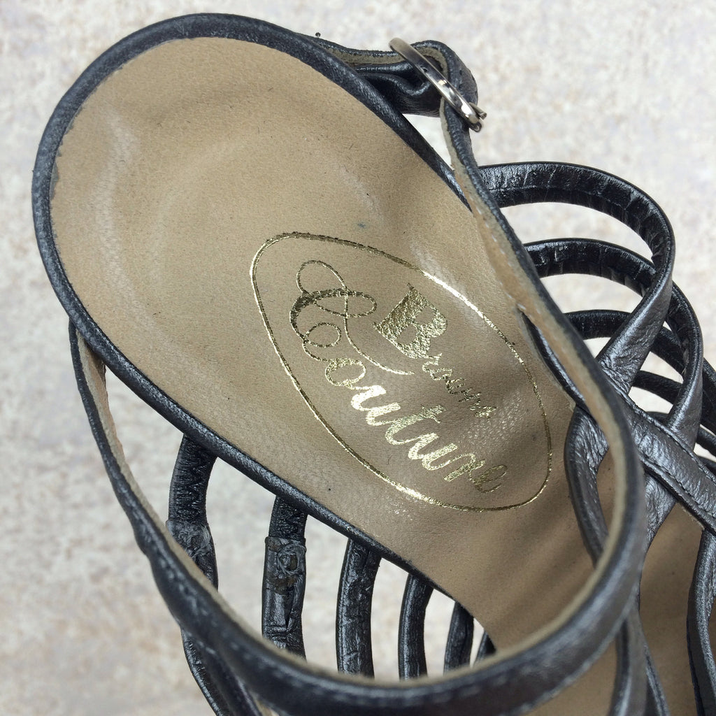Vintage 90s COUTURE Cage-Front Pewter Shoes, Label