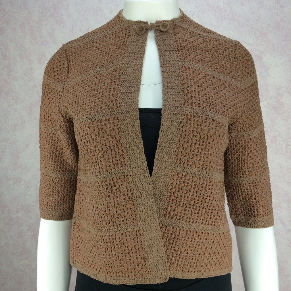 Vintage 60s Hand Knit w/Ribbon Jacket, Front