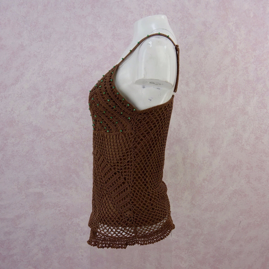 **** 2000s Crochet Lined Bronze Camisole Top, NWT side