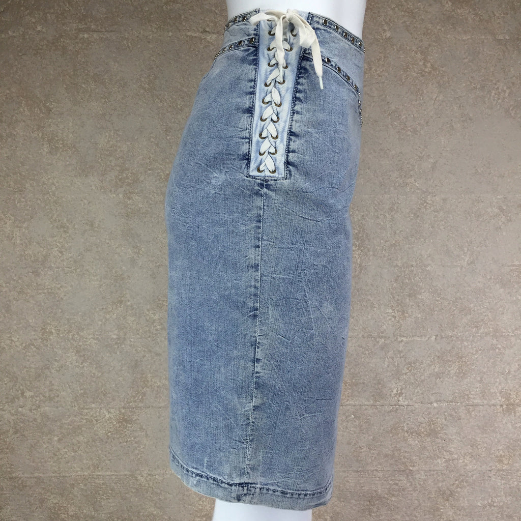Vintage 90s DOLCE & GABANNALace-Up Denim Skirt, Side 2