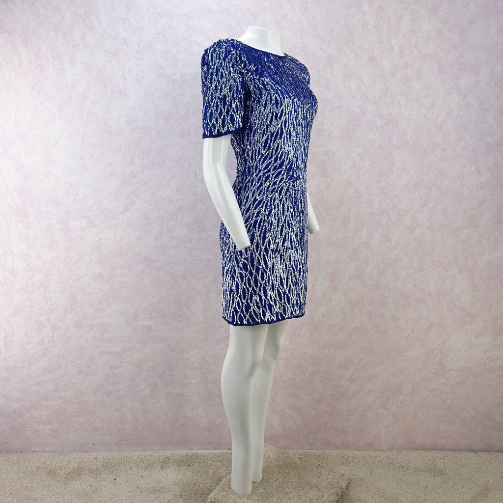 Vintage 80s Water Ethereal Sequined Dress  f