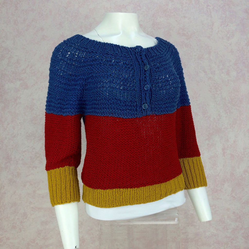 Vintage 90s Handknit Color Blocked Sweater, Side