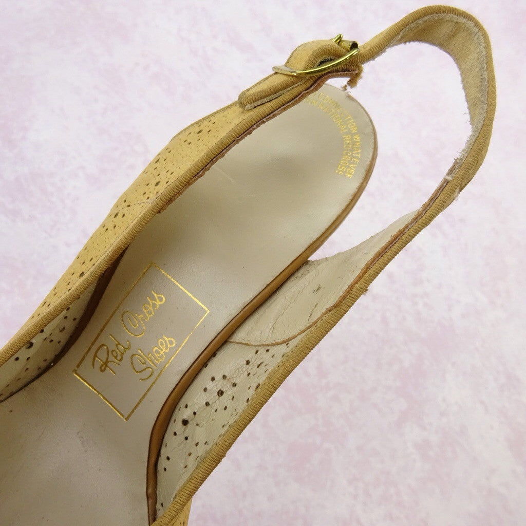 Vintage 50s Peep Toe Sling Back Shoes w/Perforated Leather, NOS