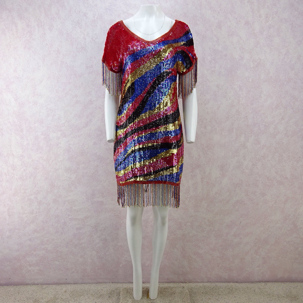 Vintage 80s Solid Colorful Sequin Dress w/Beaded Fringe