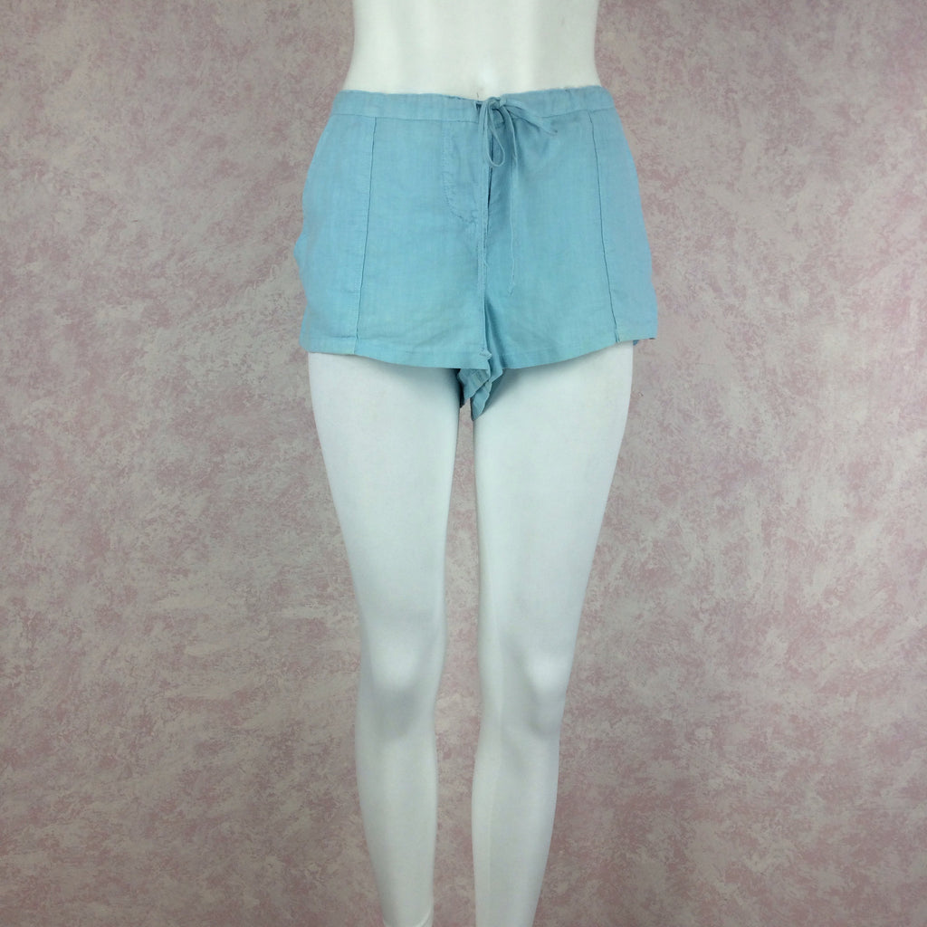 2000s JUICY COUTURE Linen Teal Shorts f2