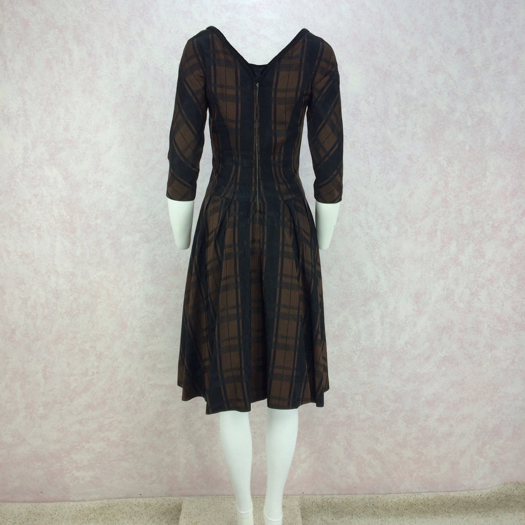 Vintage 50s Plaid Taffeta Drop Waist & Flair Dress back