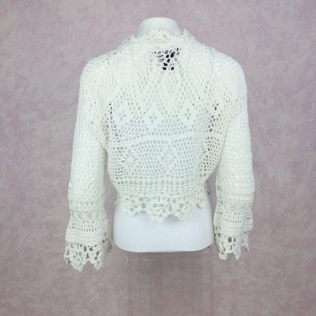 2000s THE WRIGHTS White Cotton Crochet Sweater, Back