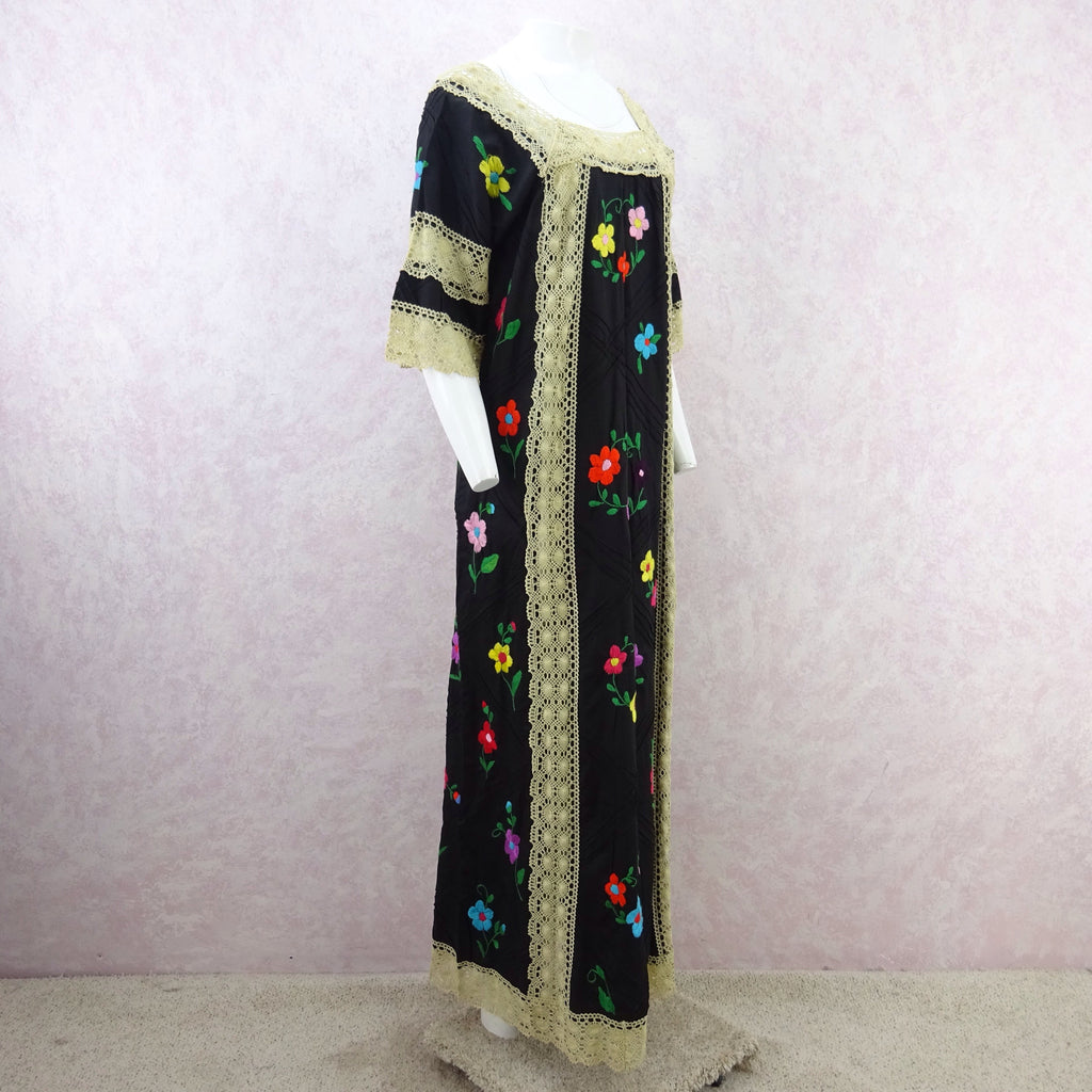 Vintage 80s Hand Embroidered Dress w/ Lace Panels f
