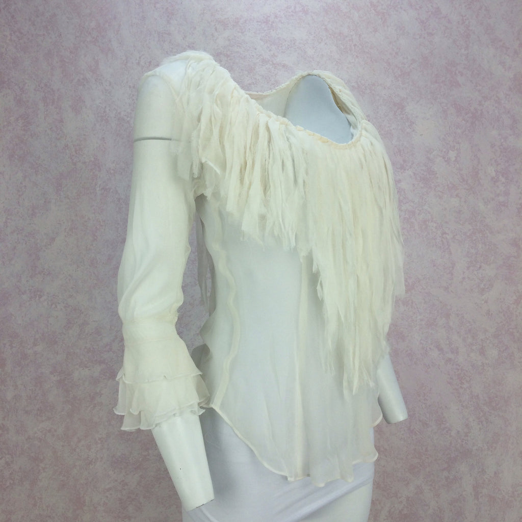 2000s Chiffon Fringed Collar Top, Side